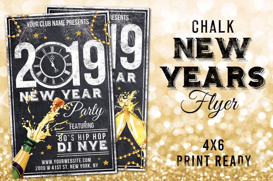 Chalk New Years Eve Flyer example image 1