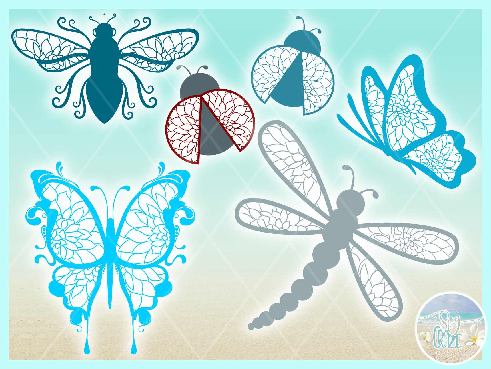 Flying Insect Mandala Zentangle Bundle Svg Dxf Eps Png Pdf F example image 3