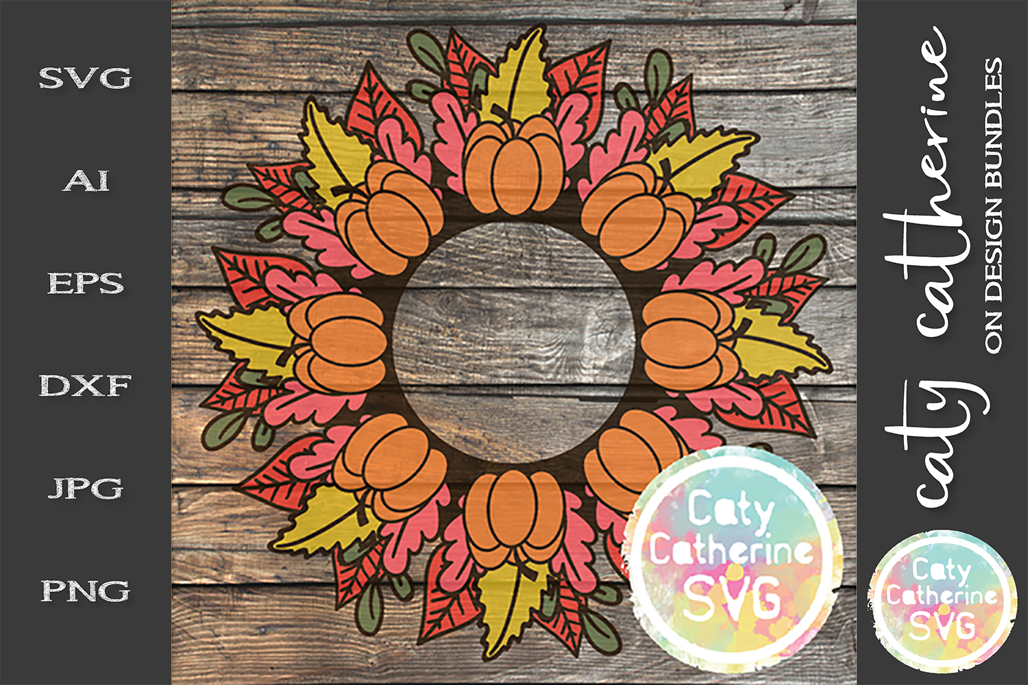 Pumpkin Leaves Fall Autumn Monogram Frame SVG Cut File example image 1