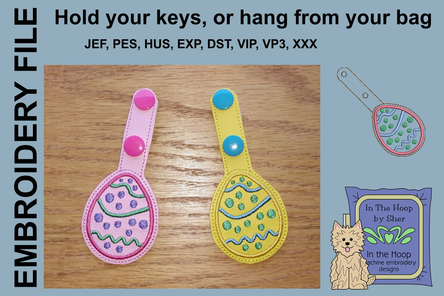 ITH Easter Egg 2 Key Fob - Embroidery Design example image 2