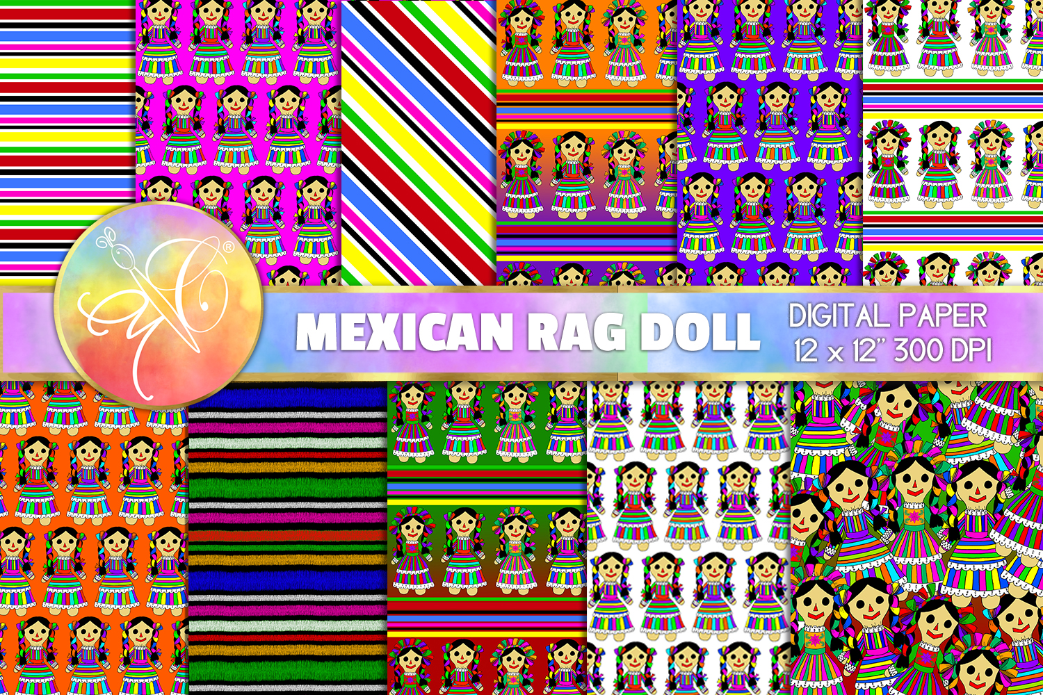 Mexican Rag Doll Digital Paper, Digital Background example image 1