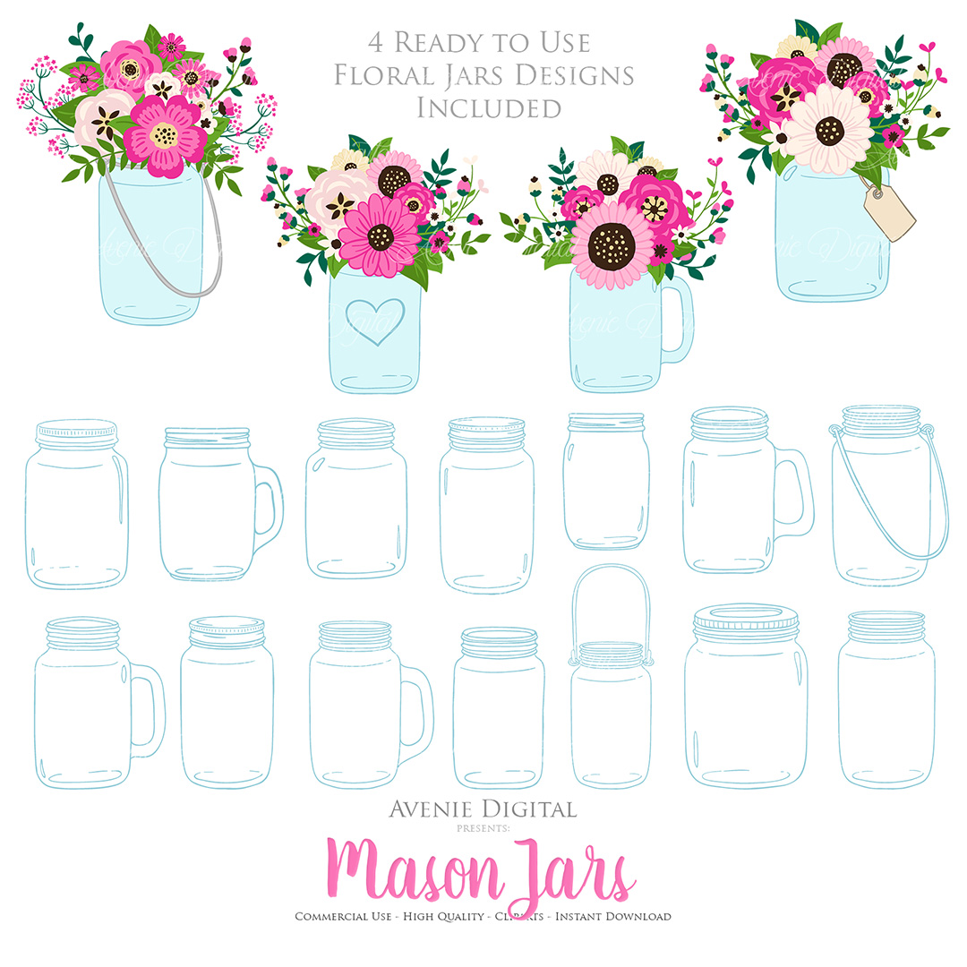 Hot Pink Mason Jar Floral Wedding Clipart example image 3