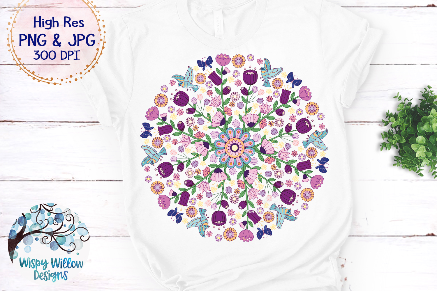 Floral Color Mandala   PNG and JPG   Sublimation example image 2