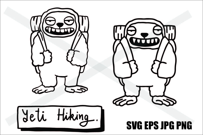 Snowman - Yeti Go Hiking - SVG/EPS/JPG/PNG example image 1