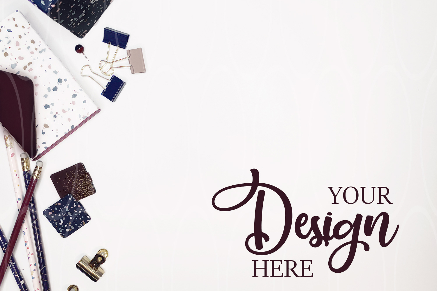 Product mockup Burgundy and blue Stationery mock up example image 1