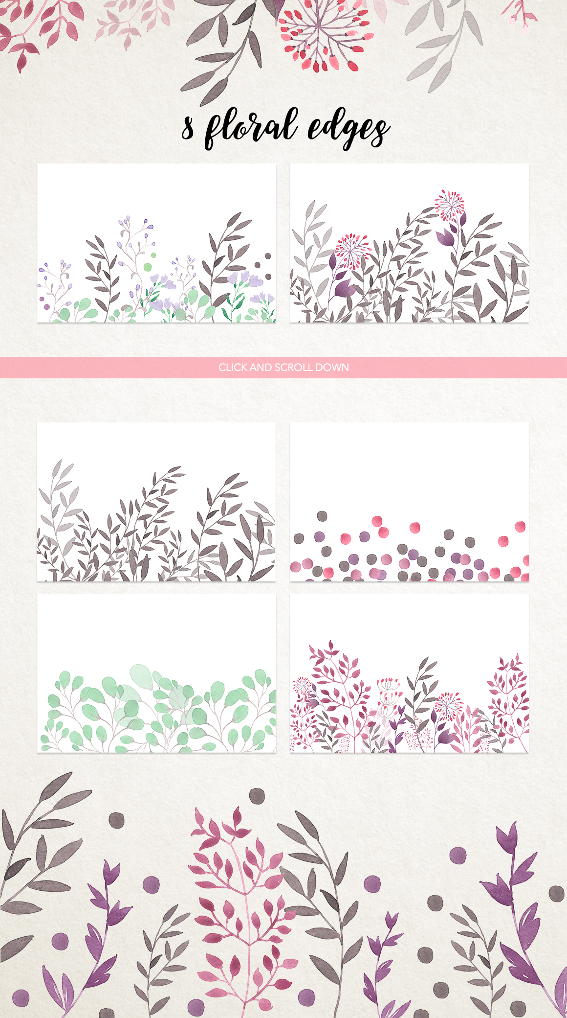 Watercolour floral borders& patterns example image 2