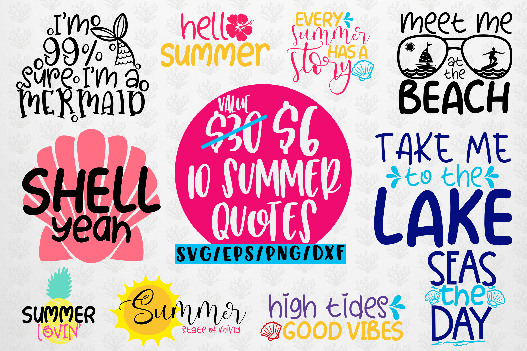 Summer Vacation Bundles - 10 Svg EPS DXF PNG Cut File example image 1