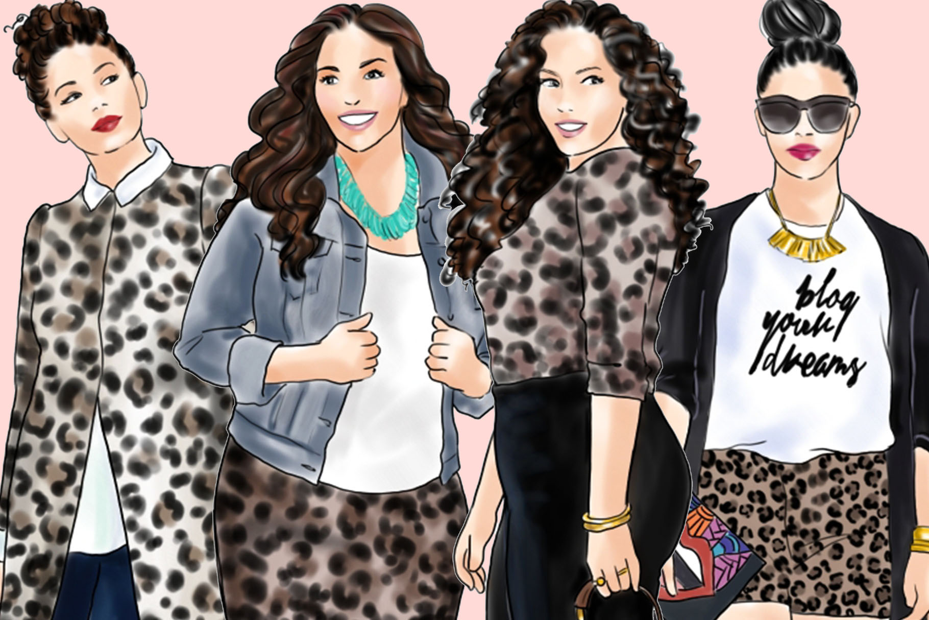Fashion clipart - Curvy Girls in Animal Print - Light Skin example image 3