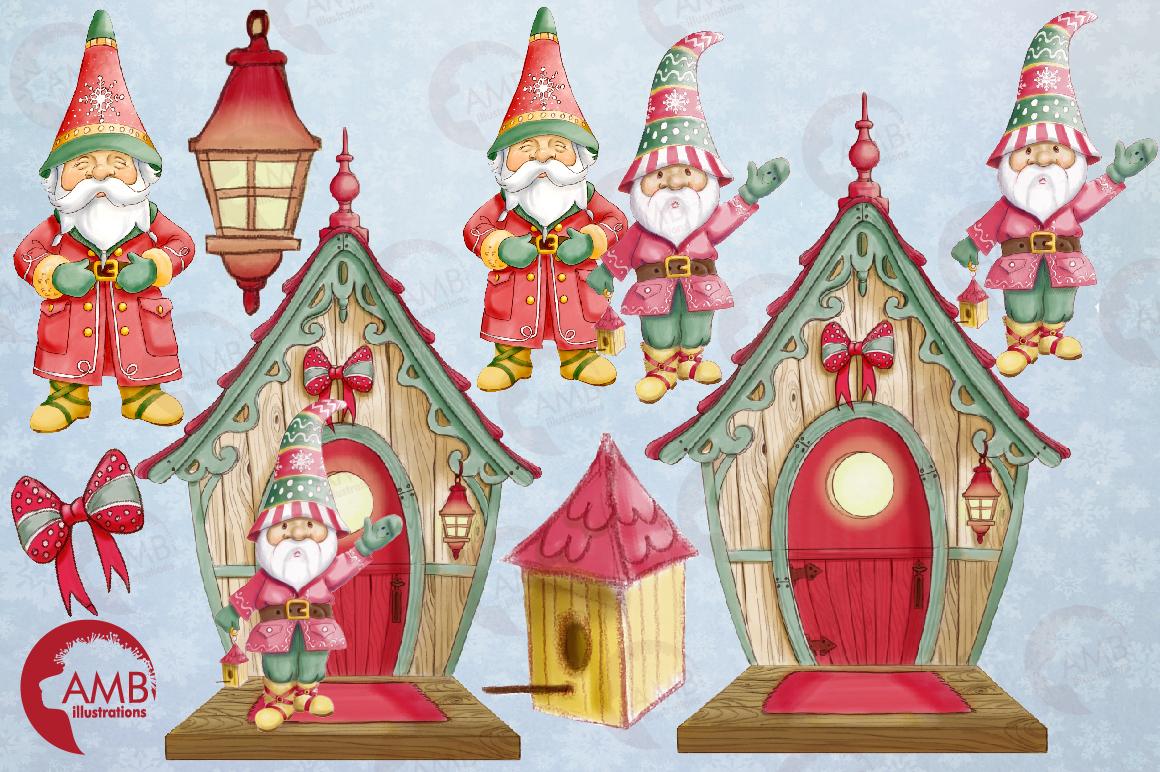 Christmas gnomes clipart watercolor AMB-1543 example image 5