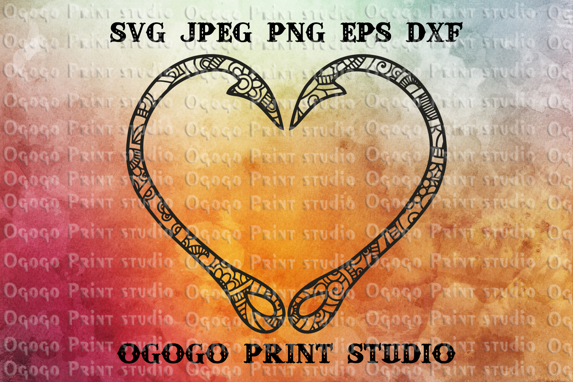 Mandala style Fishing SVG, Zentangle SVG, Heart svg, Hooks example image 1