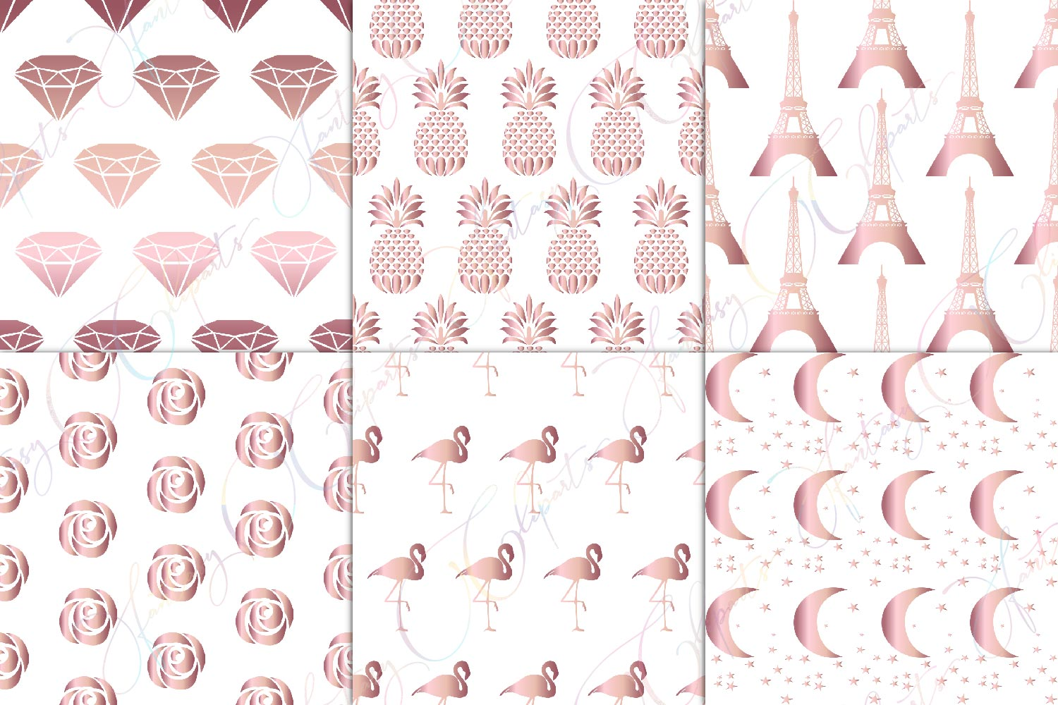 Rose Gold Seamless Pattern Overlay Clipart example image 2