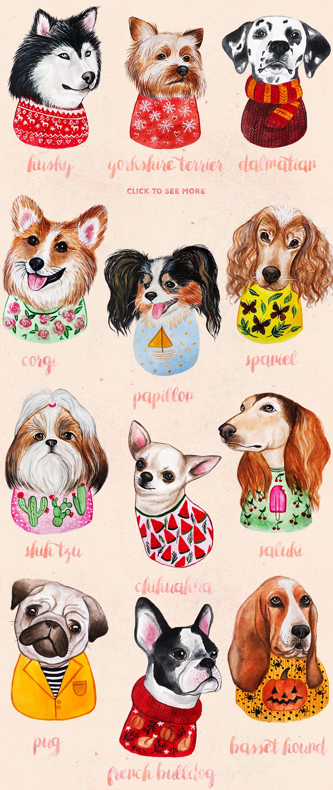 Watercolor Cute Dogs+Calendar example image 2