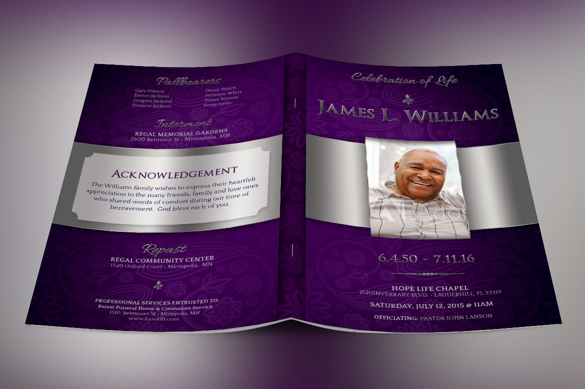Lavender Dignity Funeral Program Template example image 5