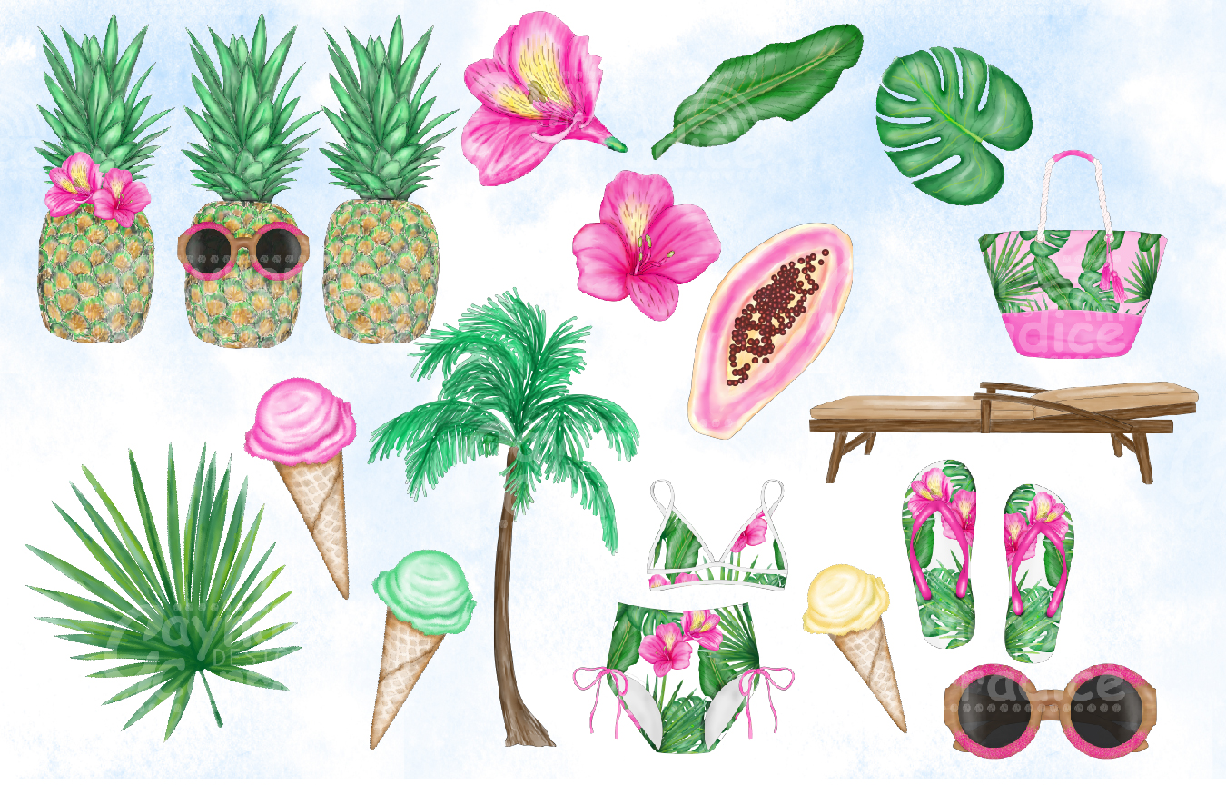 Beach Please Fashion Clipart Collection example image 5