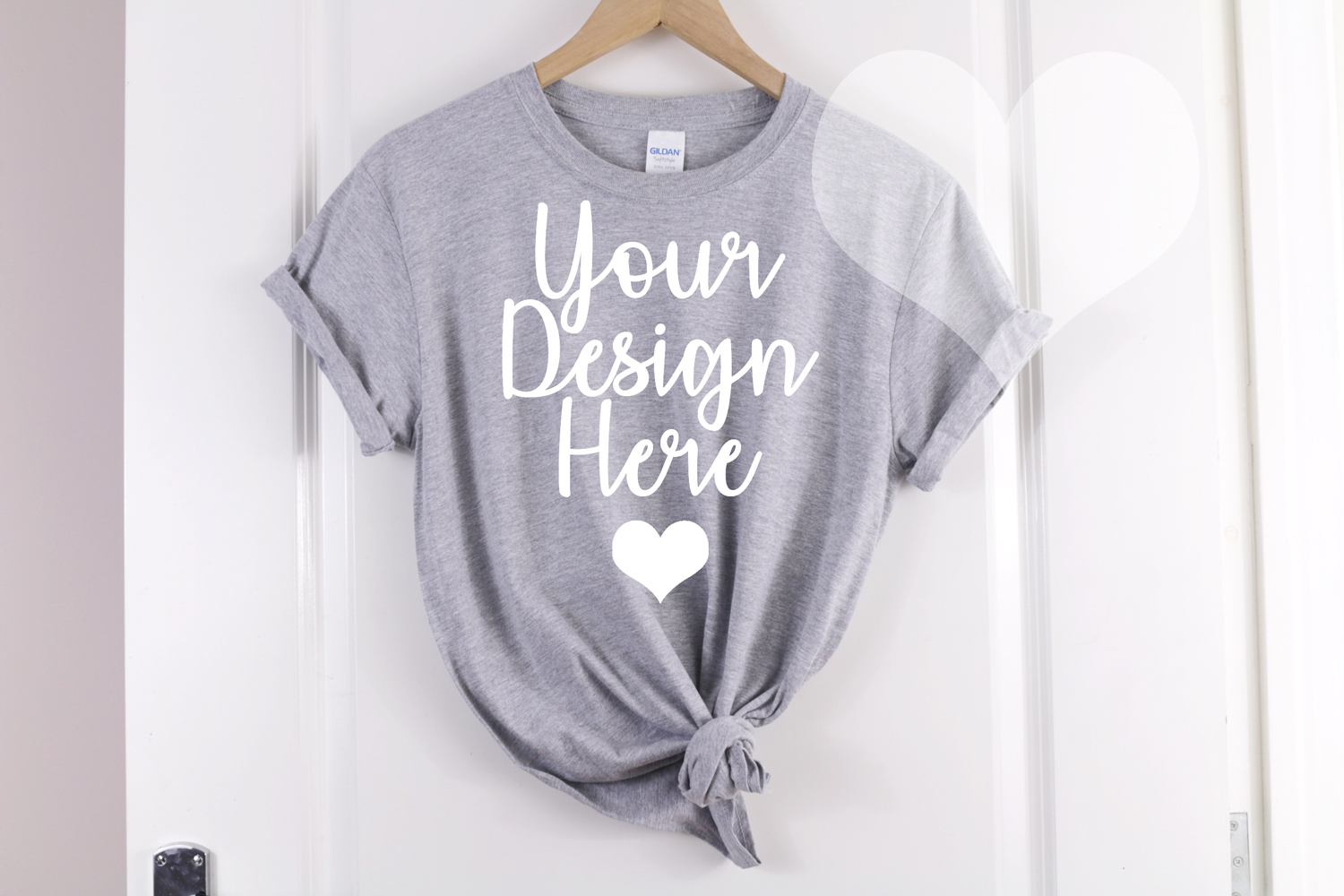 Gildan Mockup 64000 Softstyle Heather Gray Knotted T shirt example image 1