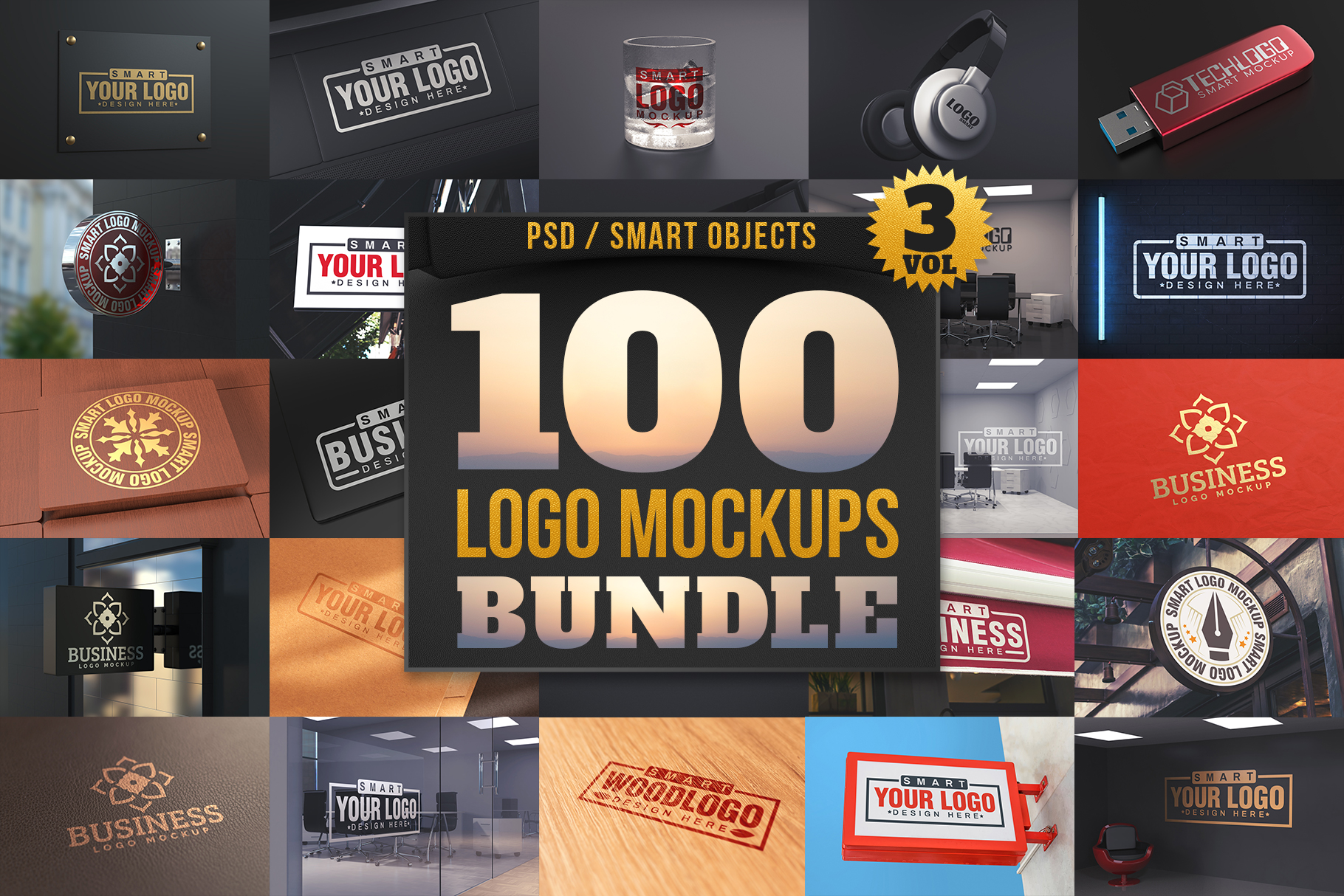 100 Logo Mockups Bundle Vol.3 example image 1