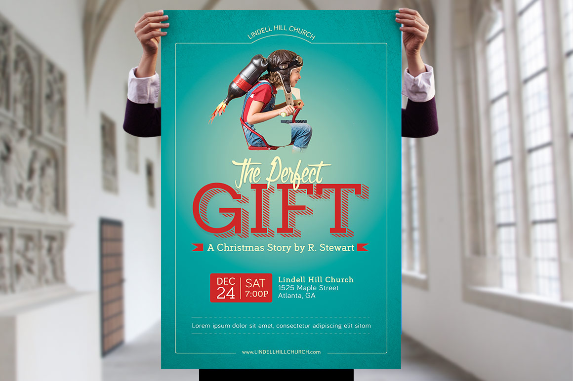 Perfect Gift Church Flyer Poster Template example image 7
