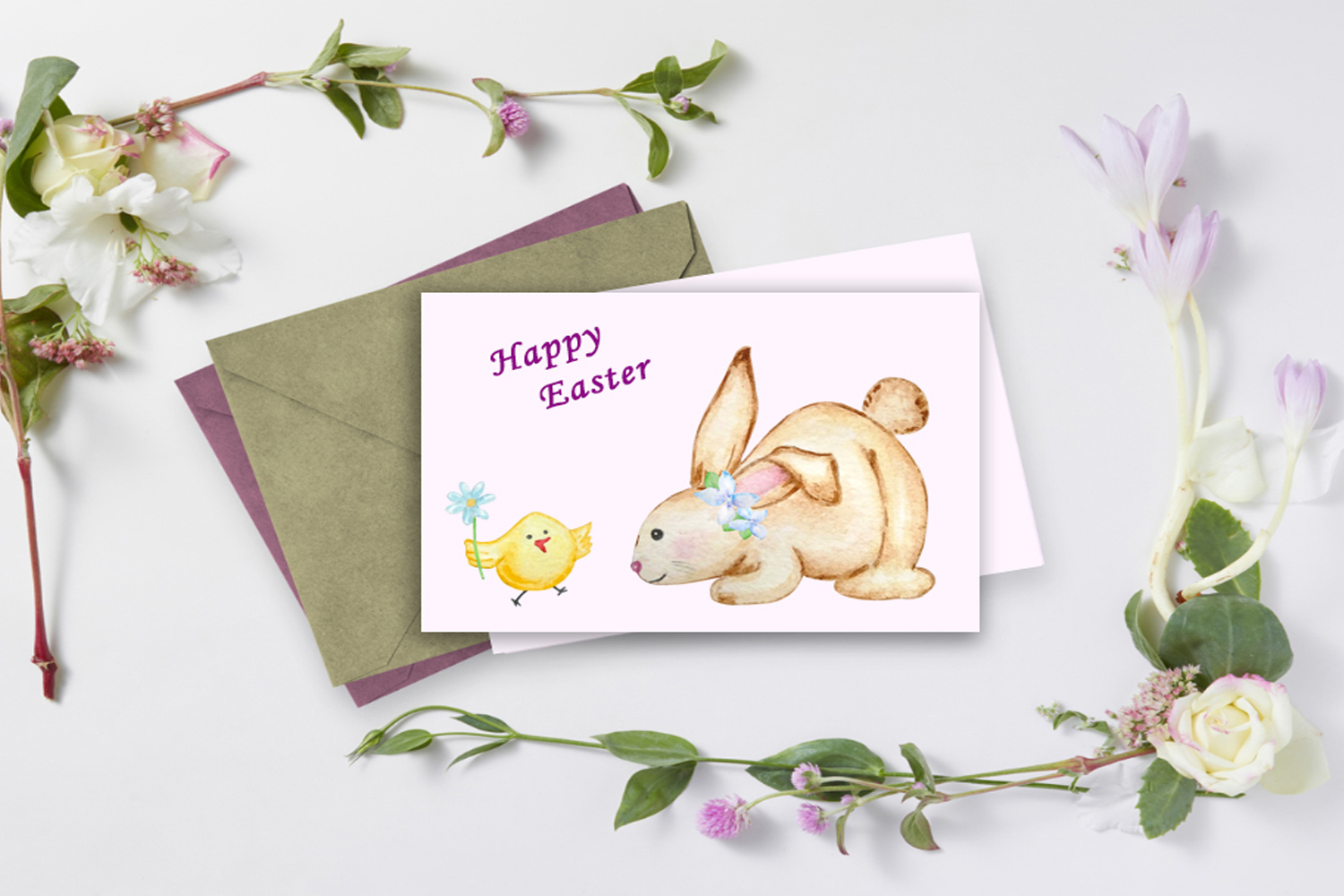 Watercolor Easter Cute Bunny Clipart Set example image 4