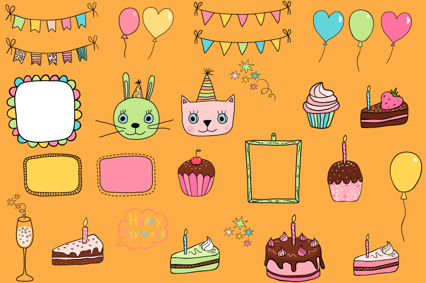 Cute birthday clipart, Party design elements example image 3