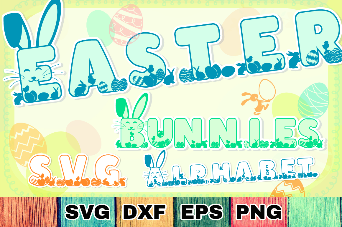 Easter Bunnies SVG Alphabet with A-Z Letters & Numbers example image 1