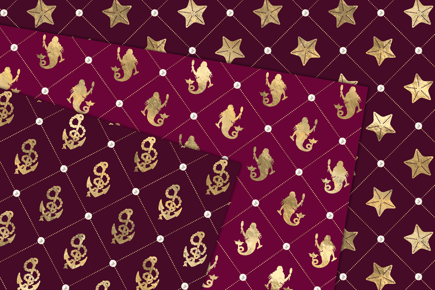 Burgundy and Gold Nautical Digital Paper example image 2