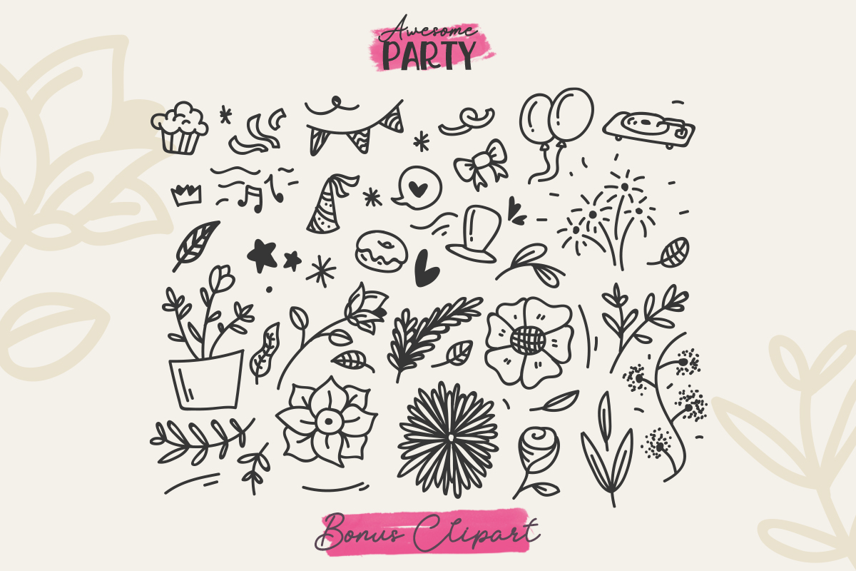 Awesome Party Font Duo with Doodles example image 10