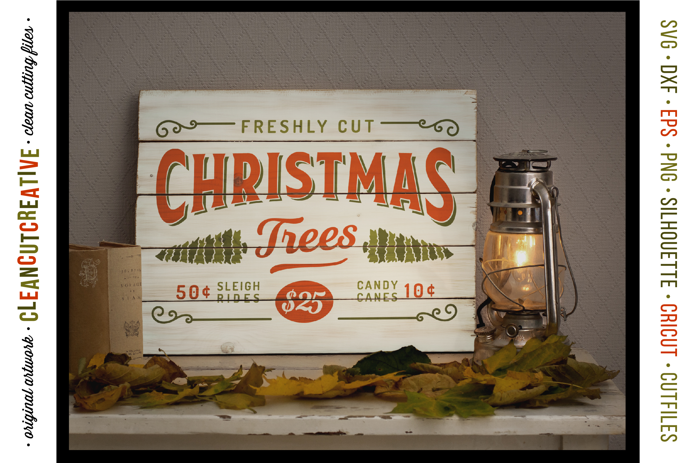 Freshly Cut Christmas Trees! - Rustic Farm Wood Sign - SVG DXF EPS PNG - Cricut & Silhouette - clean cutting files example image 2