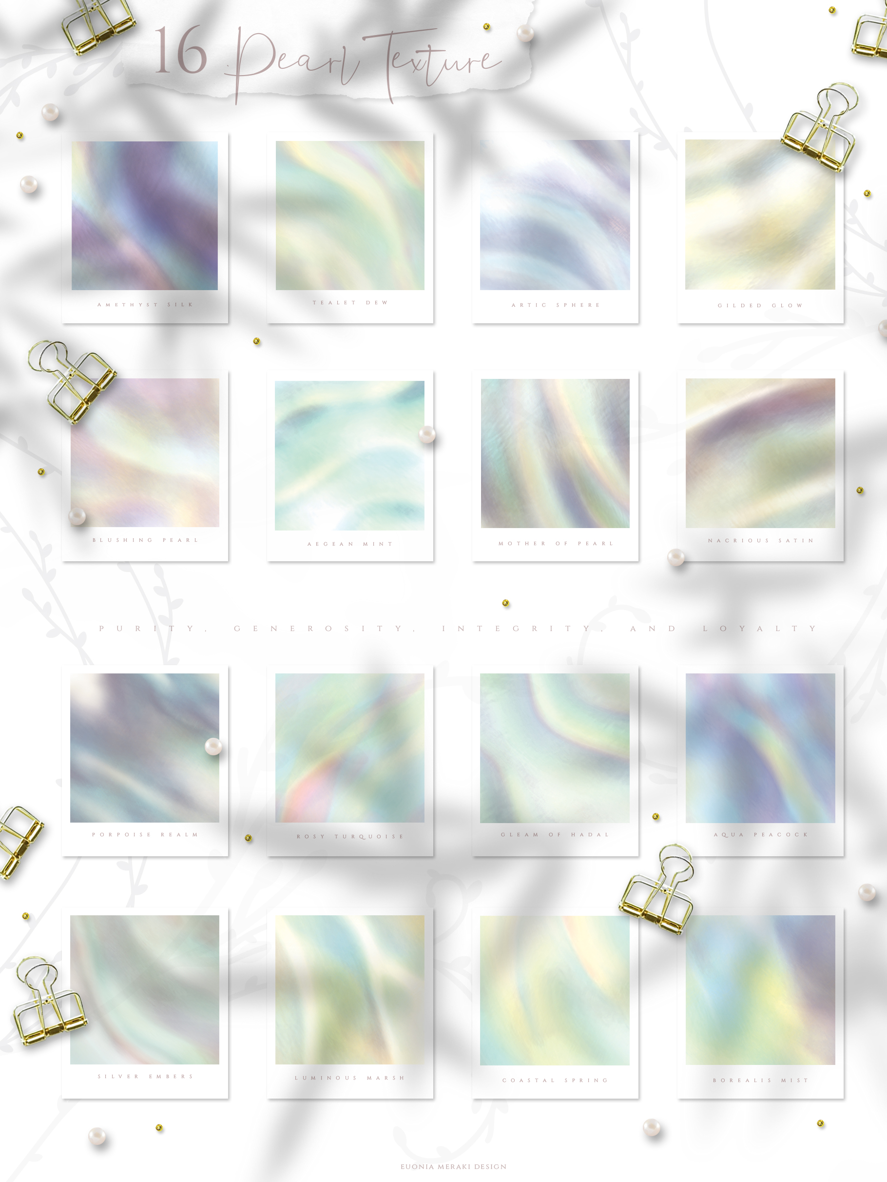 Holographic Pearl - Texture plus FREE Floral set example image 3
