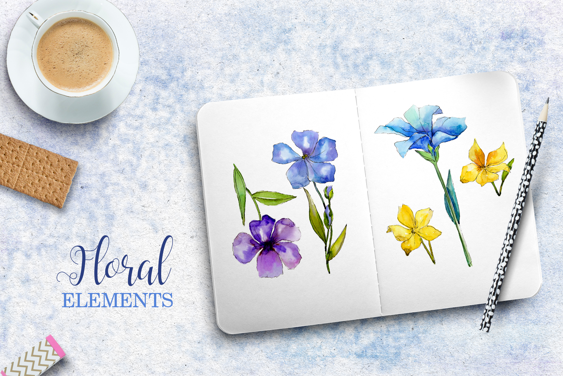 Flax Blue and yellow fowers Watercolor png example image 2