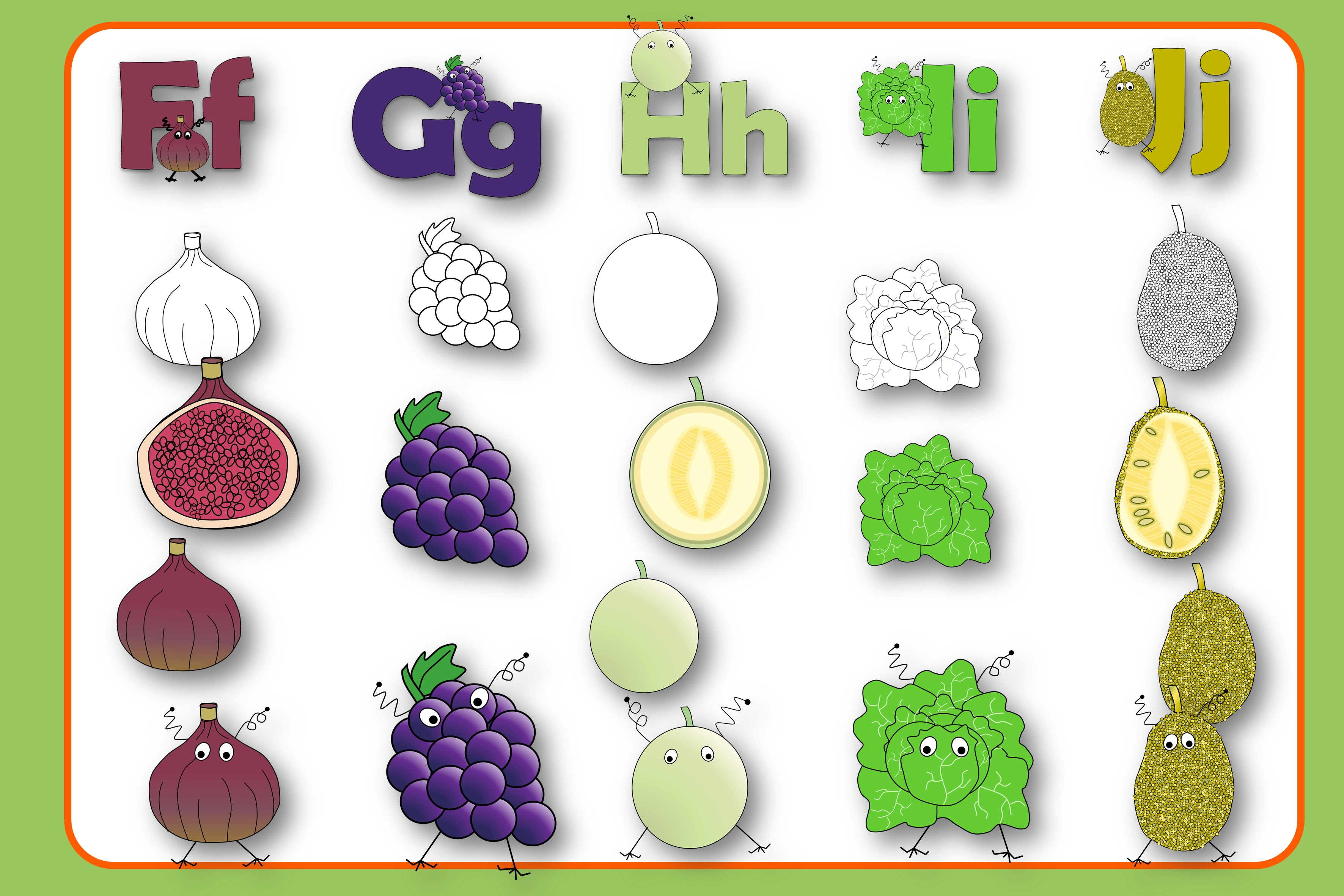 Alphabet of Fruits and Vegetables with Monsters example image 3