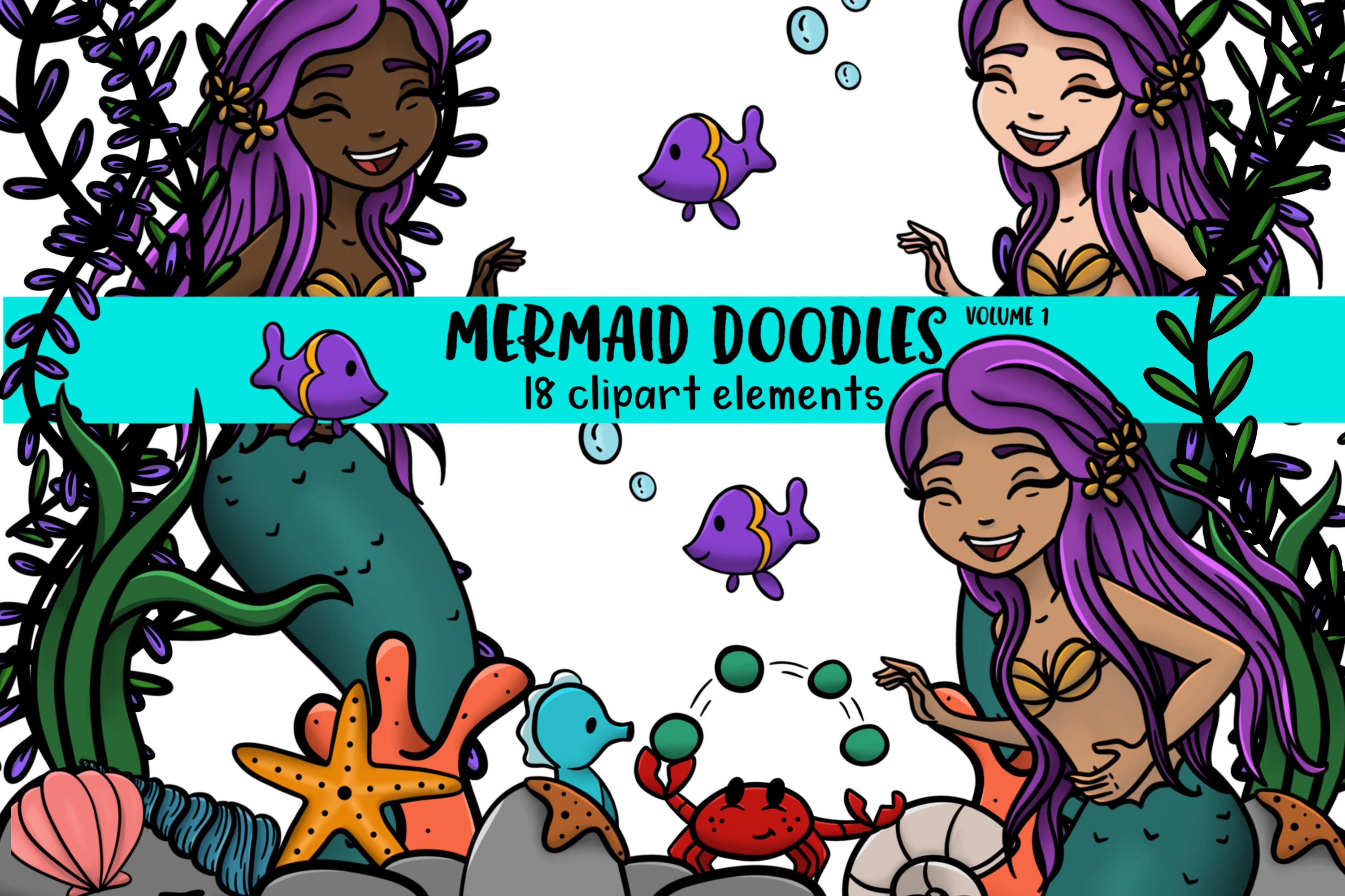 Mermaid Doodles Volume 1 18 clip art elements example image 1