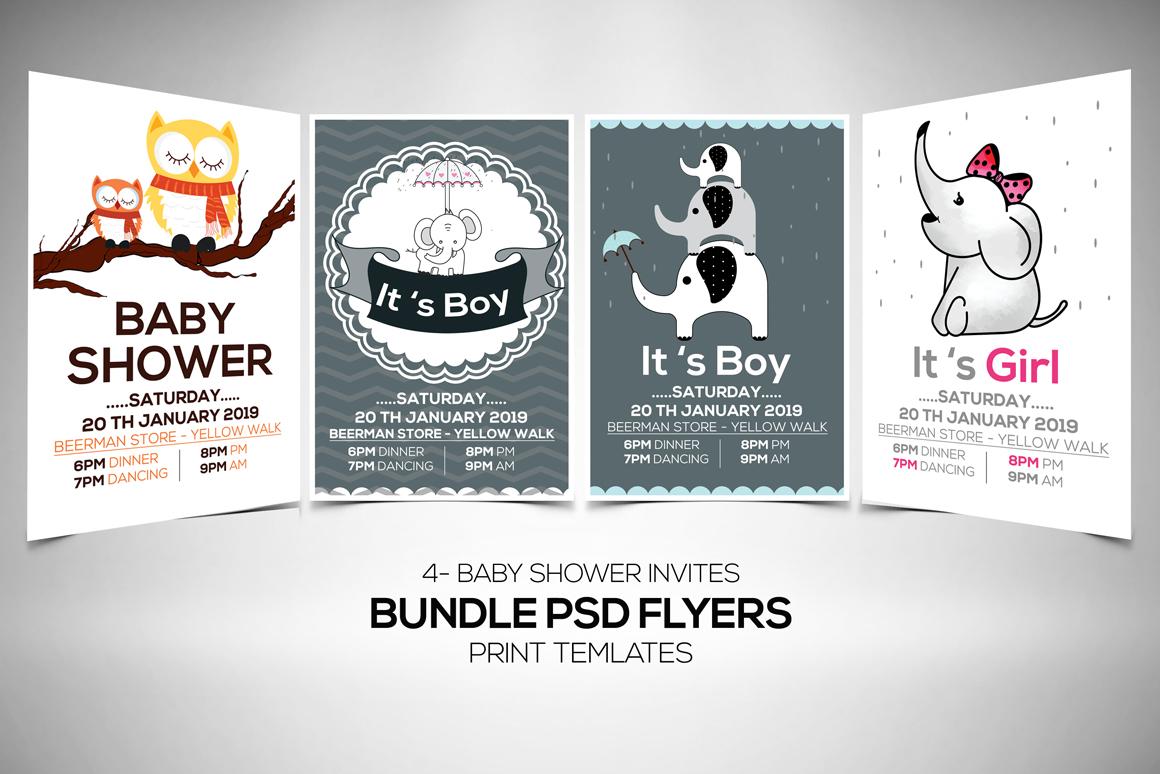 4 Baby Shower Flyers Bundle example image 1