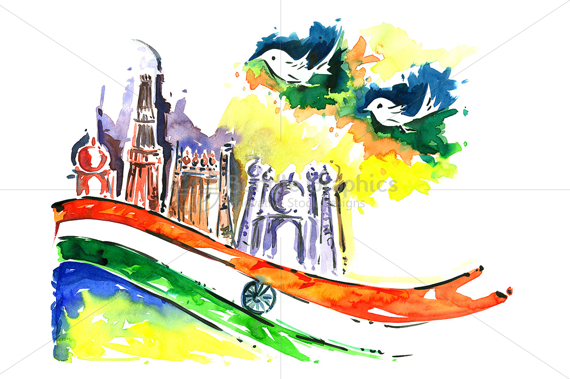 painting of indian flag and peace birds