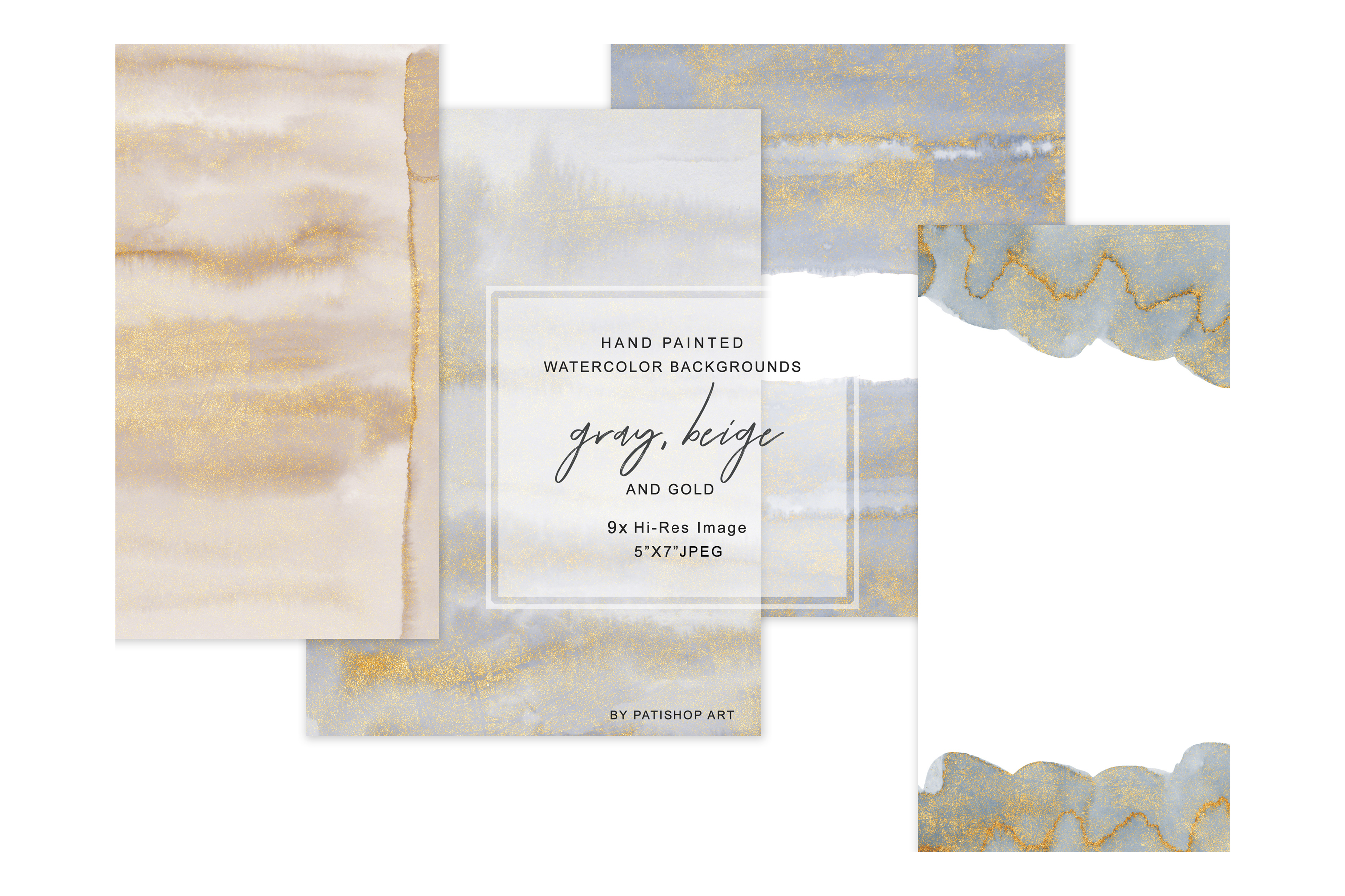 Watercolor Glittered Gray & Beige Background 5x7 example image 2