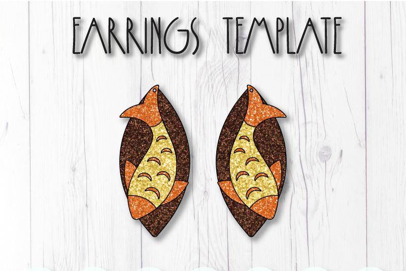 Fish earrings template SVG, DIY earrings template example image 1
