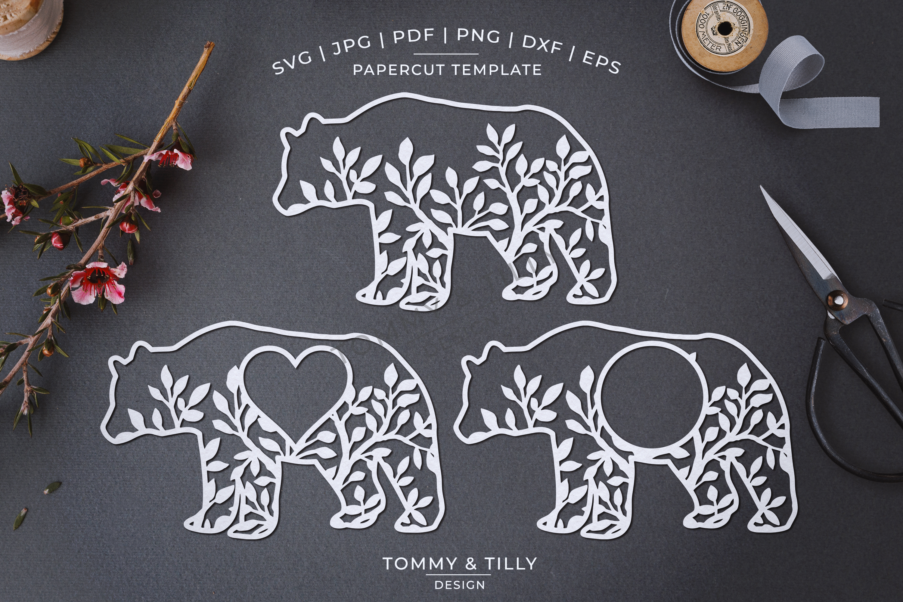 Foliage Bear x 3 - Papercut Template SVG EPS DXF PNG PDF example image 2