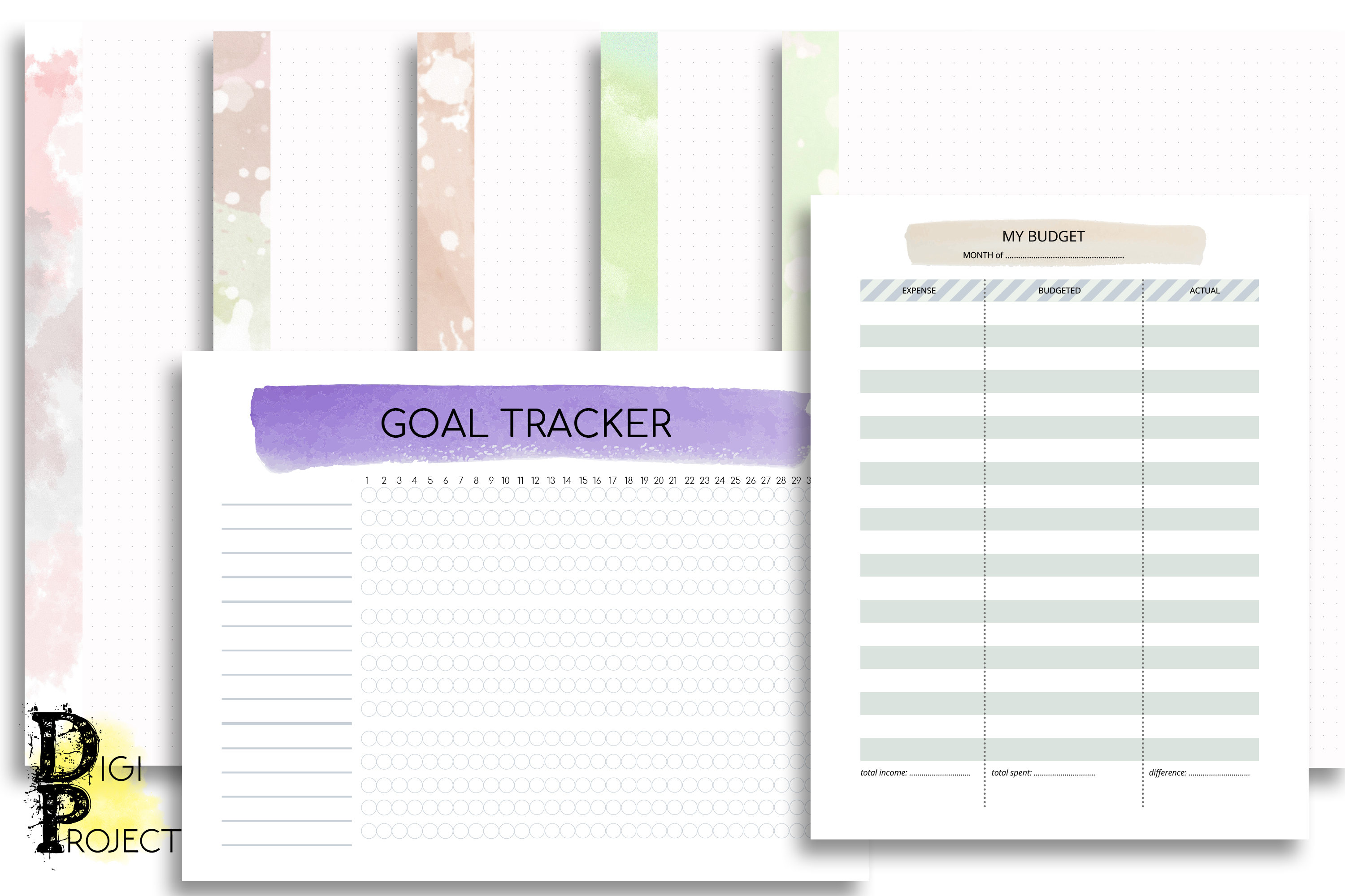 Printable Watercolor 2020 Life Planner Kit example image 5