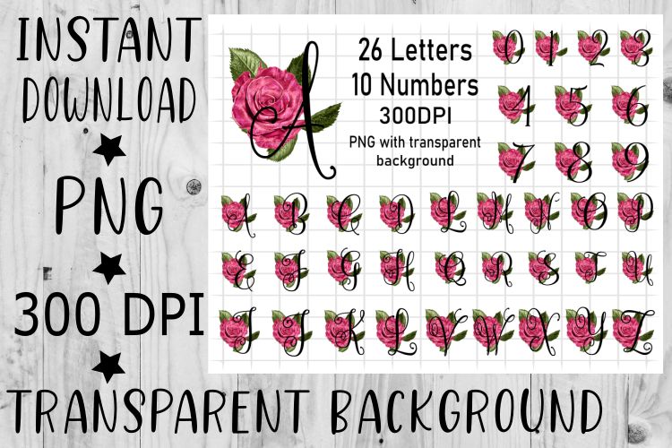Letter and Number Rose Alphabet Bundle 36pc, Sublimation example image 1