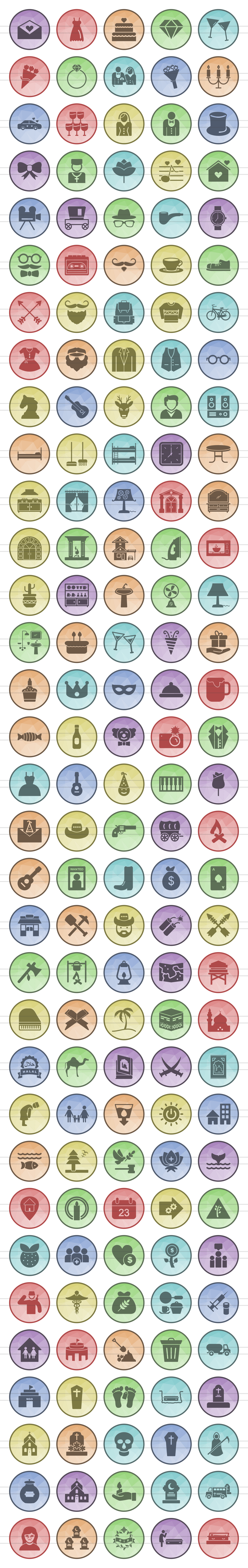 166 Lifestyle Filled Low Poly Icons example image 2