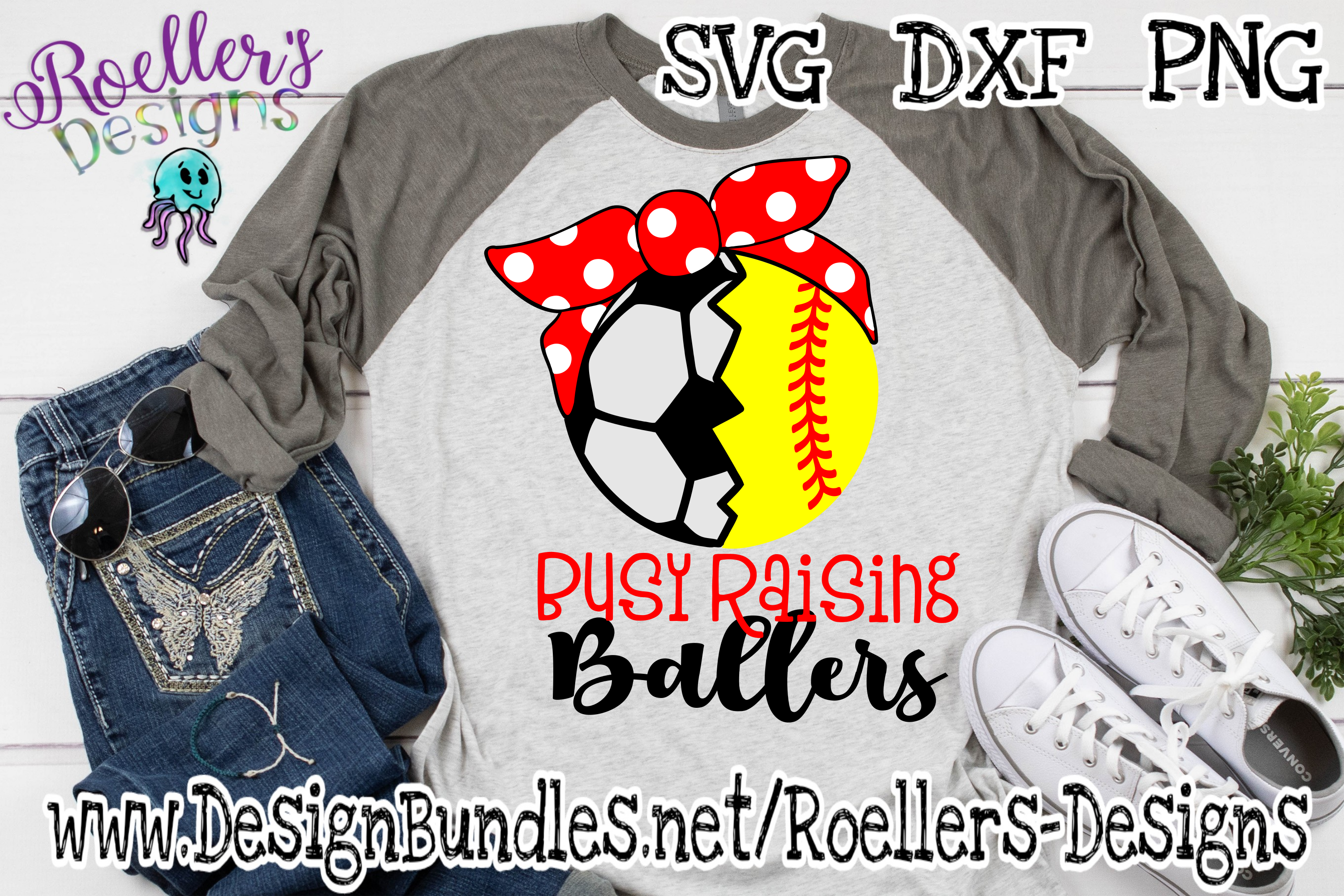 Busy Raising Ballers, Soccer and Softball with Red Bandana example image 1