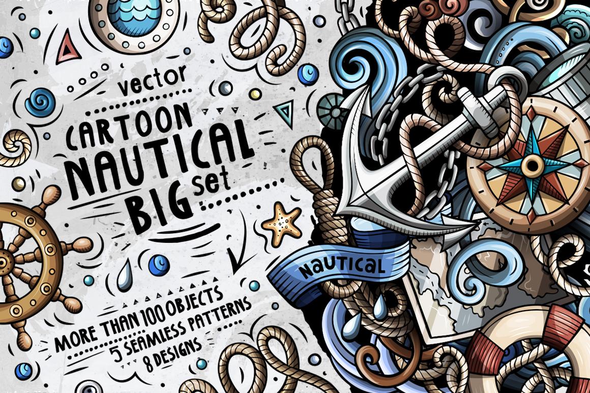 Nautical Cartoon Doodle Big Pack example image 1