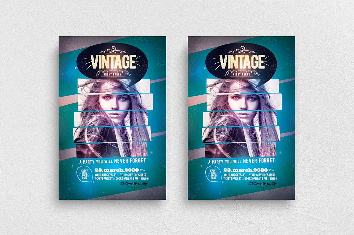 Vintage Night Flyer Template example image 1