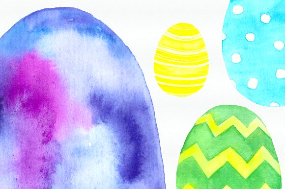 Watercolor Easter Eggs Clip Art Set example image 2