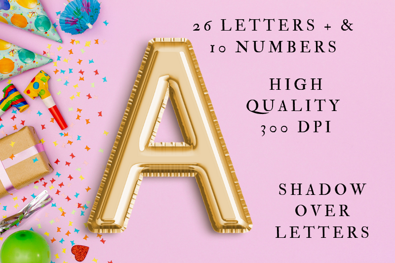 Gold Foil Balloon Letters Clipart, Digital Gold Balloons example image 4