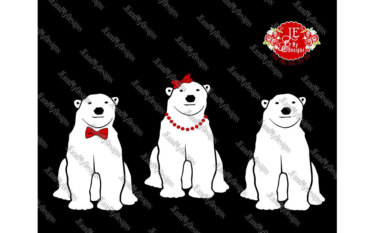 Polar Bear Trio SVG, JPEG, PNG, EPS, DXF example image 2