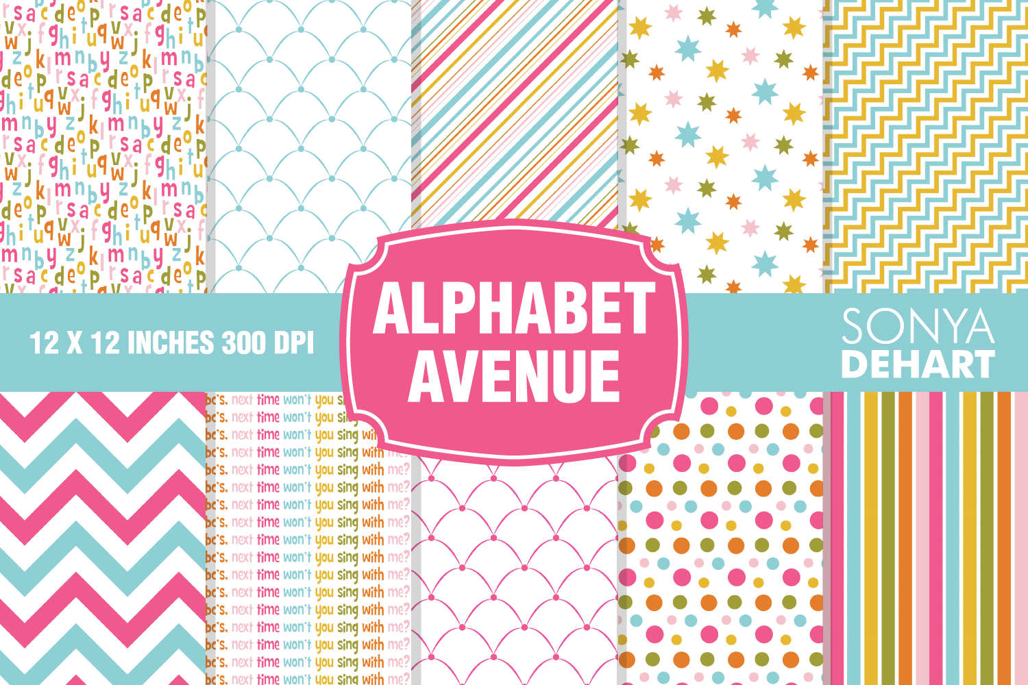 Alphabet Avenue Kids Digital Paper Pattern Pack example image 1