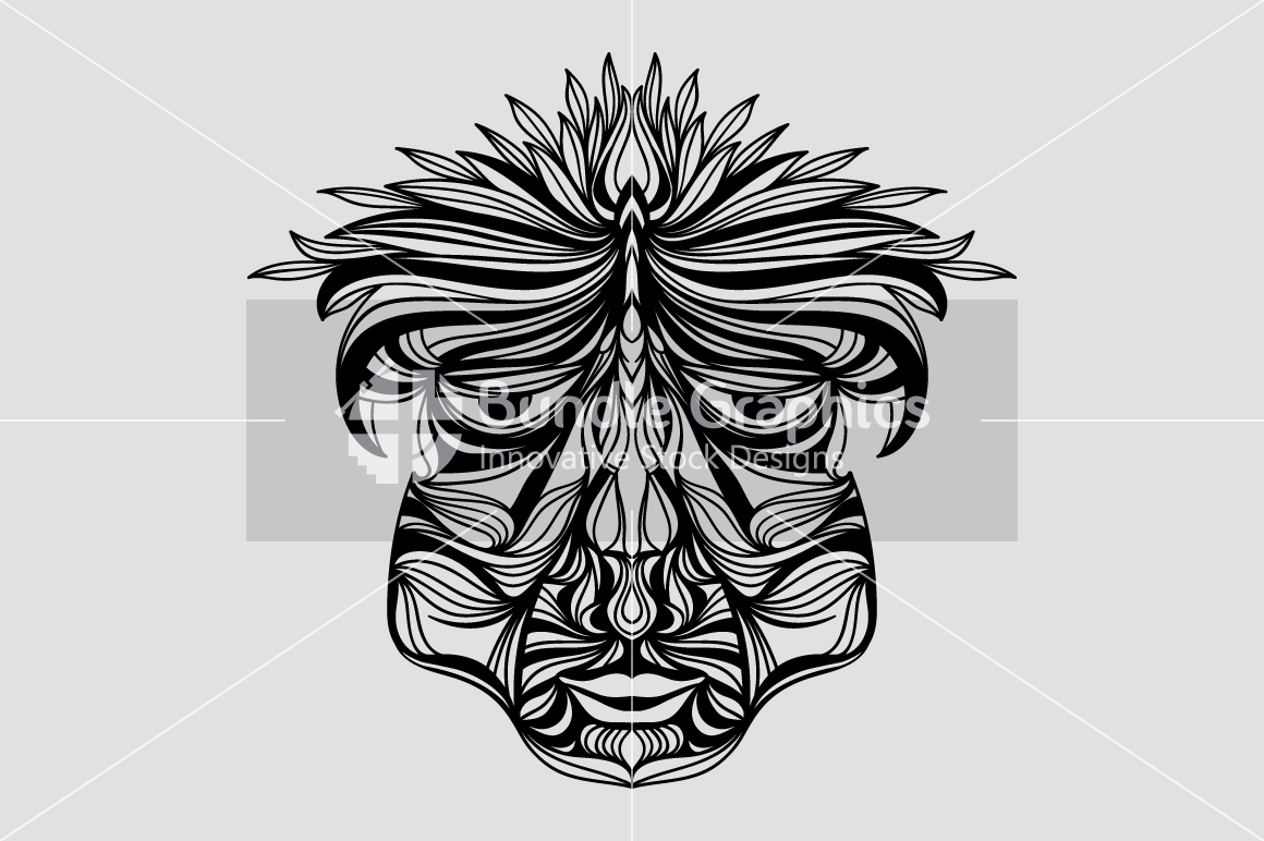 Tribal Human Face - Illustrative Design Composition example image 3