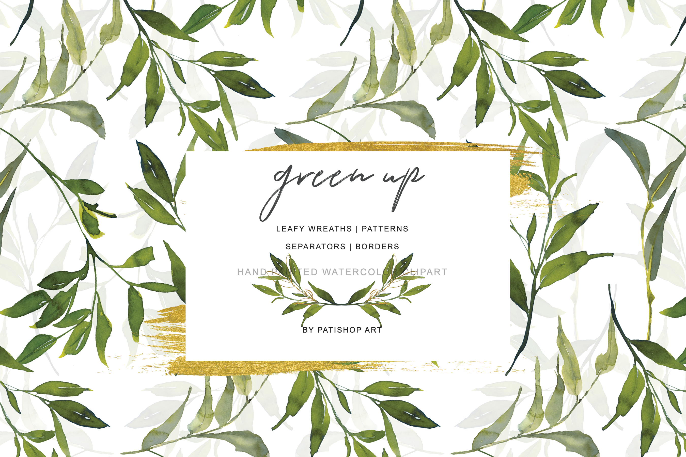 Watercolor Leafy Clipart Collection example image 6
