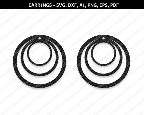 Round Earrings svg, Jewelry svg, leather jewelry, Cricut example image 1