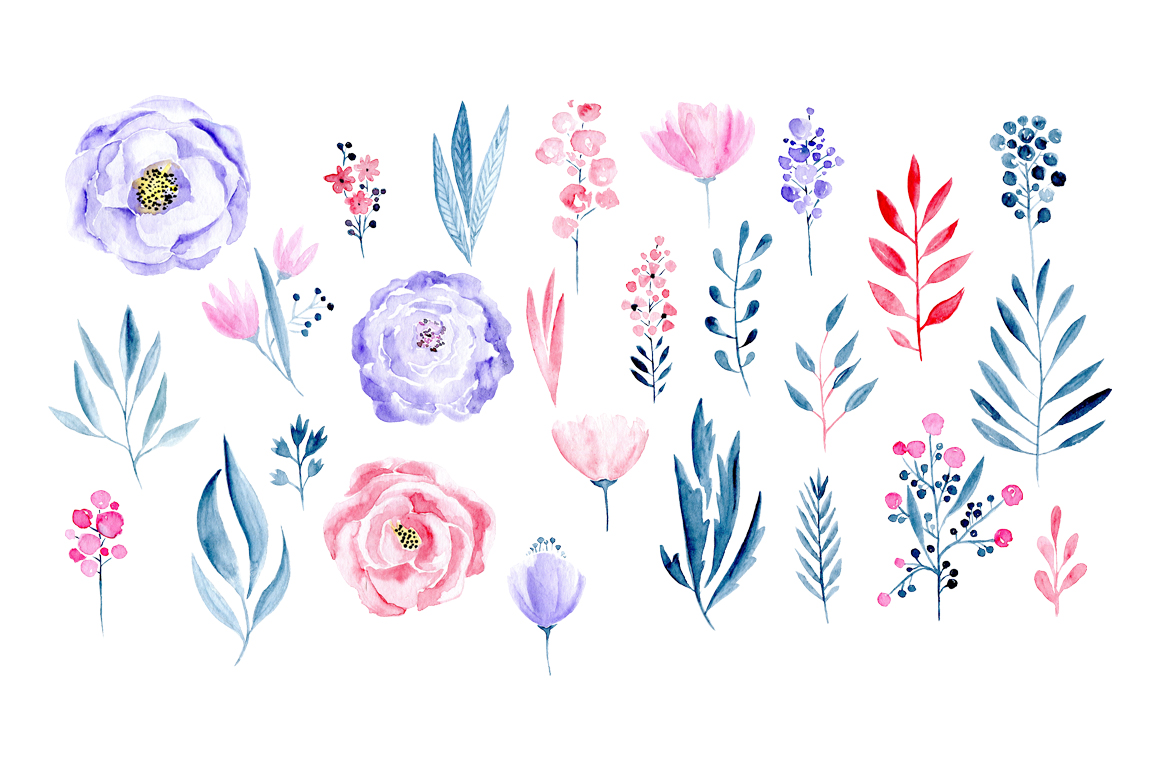 Watercolor pink and light violet flowers example image 2